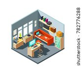isometric home office interior. ... | Shutterstock . vector #782776288
