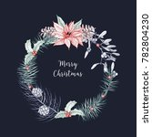 christmas wreath made of... | Shutterstock .eps vector #782804230