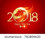2018 happy new year card with... | Shutterstock .eps vector #782804620