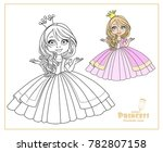 little princess in crown... | Shutterstock .eps vector #782807158