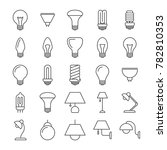 lamp and light bulbs line icons ... | Shutterstock . vector #782810353