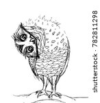an owl tilted her head sideways ... | Shutterstock .eps vector #782811298