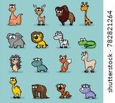 set of  cute vector cartoon... | Shutterstock .eps vector #782821264