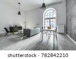 gray interior of loft apartment ... | Shutterstock . vector #782842210