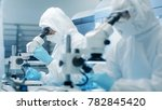 two engineers in sterile... | Shutterstock . vector #782845420