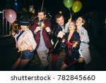 group of happy friends going on ... | Shutterstock . vector #782845660