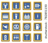 beer icons set in blue color... | Shutterstock . vector #782851150