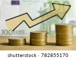 Small photo of Euro behind the plan is profit and growth. Coins increase funds to generate profits for financing an investment fund and business