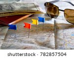 sunglasses  pin flags marking ... | Shutterstock . vector #782857504