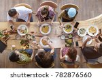top view of happy people...   Shutterstock . vector #782876560