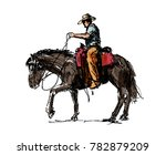 colored hand sketch a cowboy on ... | Shutterstock .eps vector #782879209