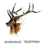 colored hand sketch head deer.... | Shutterstock .eps vector #782879404