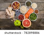 selection of superfoods on... | Shutterstock . vector #782898886