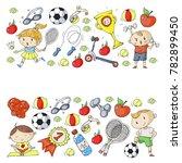 children sport. kids drawing.... | Shutterstock .eps vector #782899450