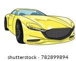 yellow sport car mazda  vector...