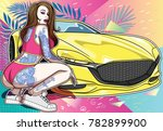 tattooed girl with car