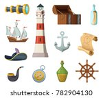 marine objects. chest  compass  ... | Shutterstock . vector #782904130