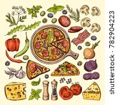 slices of pizza with cheeses ... | Shutterstock . vector #782904223