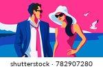 beach scene. resort holidays.... | Shutterstock .eps vector #782907280