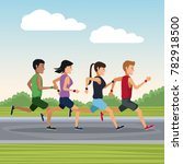 people running outside | Shutterstock .eps vector #782918500