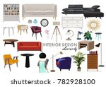 vector interior design... | Shutterstock .eps vector #782928100