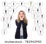 people in a network web   Shutterstock . vector #782942950