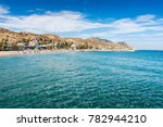 view of stegna beach with... | Shutterstock . vector #782944210