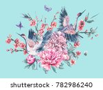 watercolor nature card with... | Shutterstock . vector #782986240