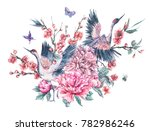 watercolor nature card with... | Shutterstock . vector #782986246