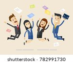 businessmans and womans jump... | Shutterstock .eps vector #782991730