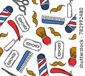 barbershop seamless doodle... | Shutterstock .eps vector #782992480