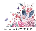 watercolor nature card with... | Shutterstock . vector #782994133
