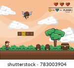 classic videogame scenery | Shutterstock .eps vector #783003904