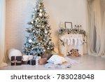 christmas white fireplace.... | Shutterstock . vector #783028048