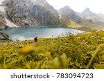 a trekker walks past gadsar... | Shutterstock . vector #783094723