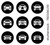 Stock vector set of white icons isolated against a black background on a theme car 783106150