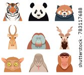 flat set of asian animals | Shutterstock . vector #783117688