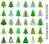 set of christmas trees painted... | Shutterstock .eps vector #783151540
