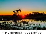 At Sunset  Oil Pumps Pour Oil...