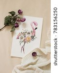 workspace. exotic flowers and... | Shutterstock . vector #783156250