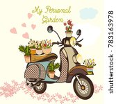 cute fashion garden ... | Shutterstock .eps vector #783163978
