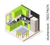 vector isometric kitchen room....   Shutterstock .eps vector #783179674