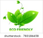 green leaf with eco friendly... | Shutterstock .eps vector #783186658