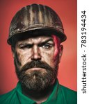 Small photo of Architect, worker, engineer - work. Portrait bearded man with protect helmet wearing. Business, building, industry, technology - builder concept. Closeup portrait.