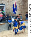 Small photo of Old Acre, Israel - April 09, 2015: Theatrical knight tournament in Old Acre, Israel