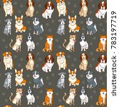 seamless pattern. dogs funny... | Shutterstock .eps vector #783197719