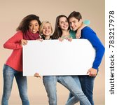 Small photo of Group of young friends with advert board