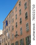 Small photo of Typical Corsican house facade in Ajaccio town (France), a French commune in the Haute-Corse department of France located in the north-east of the island of Corsica at the base of Cap Corse