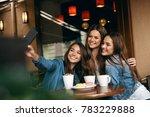 beautiful friends taking photos ... | Shutterstock . vector #783229888