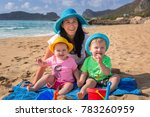 mother with twins on sun... | Shutterstock . vector #783260959